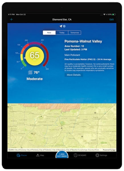Air quality indicators for Pomona, CA, on an iPad