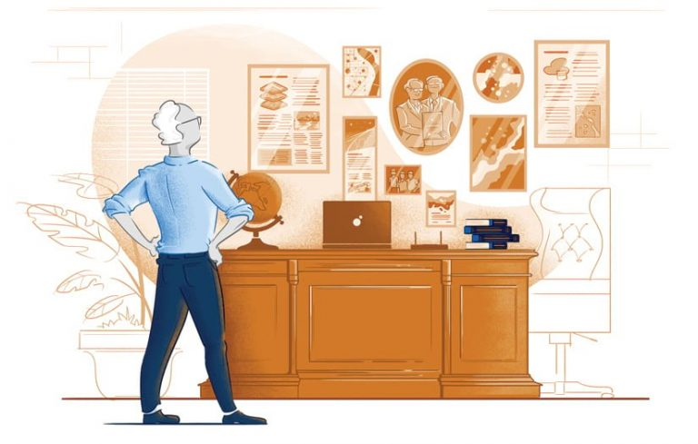 Illustration of Doug Richardson in his office