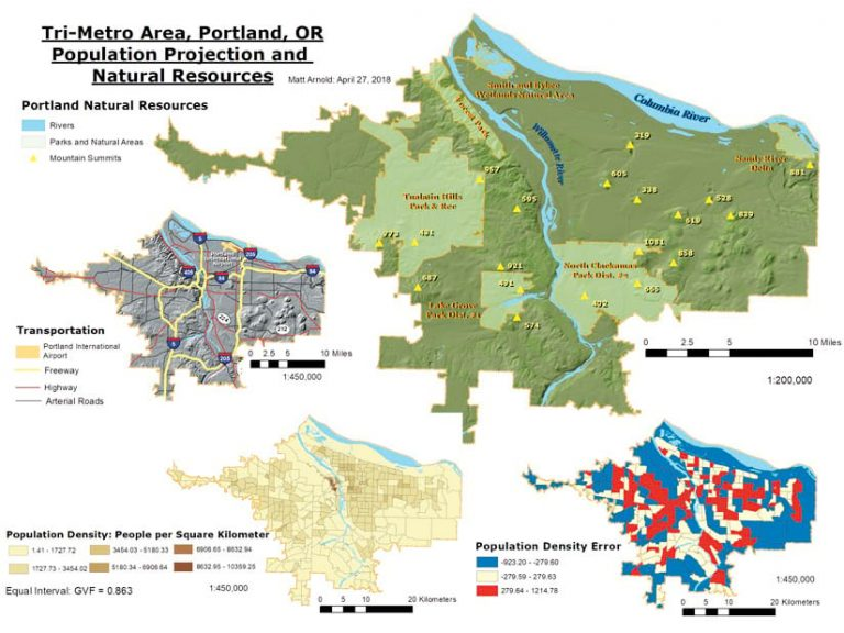 A well-made multipanel map of Portland, OR