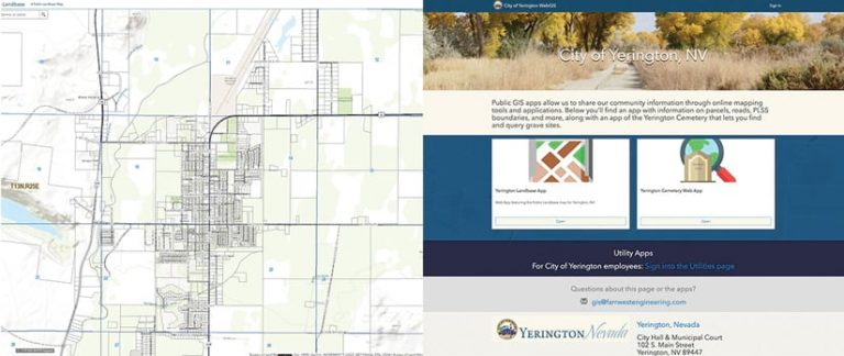 Two screenshots, one of a map and one of an Enterprise Sites website for the City of Yerington