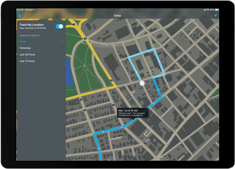A map on a tablet showing someone's tracked route