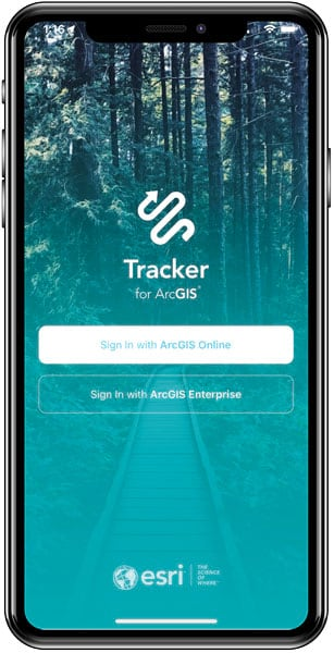 The sign-in screen for Tracker for ArcGIS shown on a smartphone