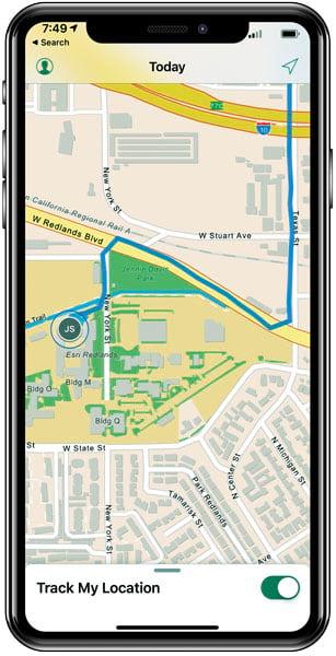 A map on a smartphone showing a fieldworker's shared location