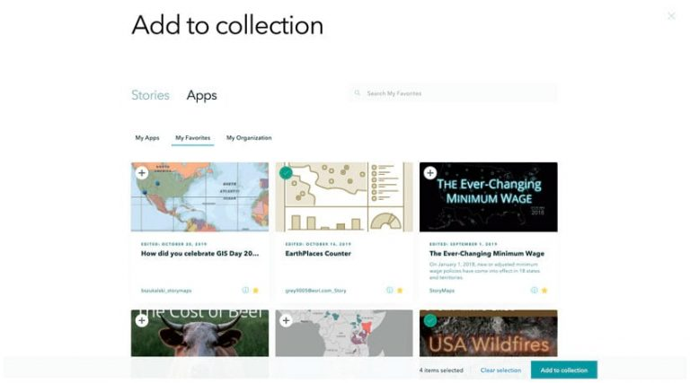 A screenshot of a collection