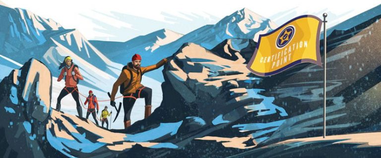 Illustration of a mountaineering team, all roped together, reaching their goal: a certification point.