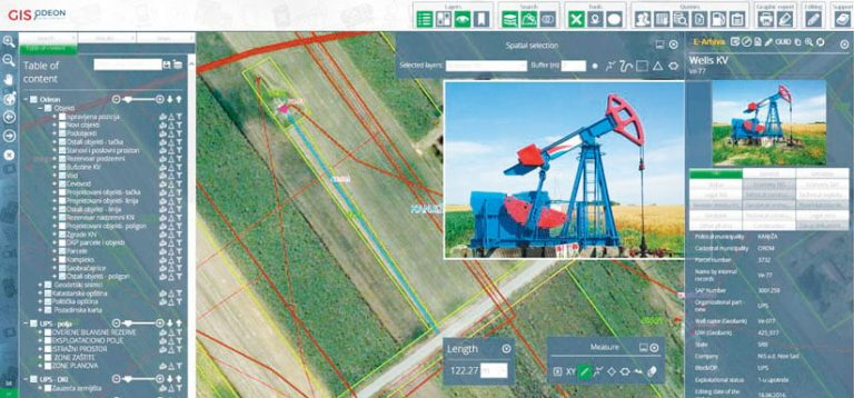 A screenshot showing an imagery-based map with asset measurements on it