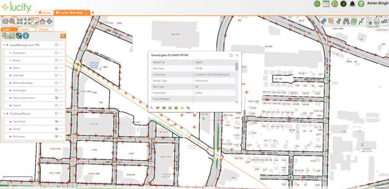 A screenshot of Lucity Web Map with streetlight data on it