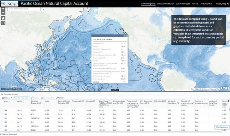 A story map showing capital associated with the Pacific Ocean