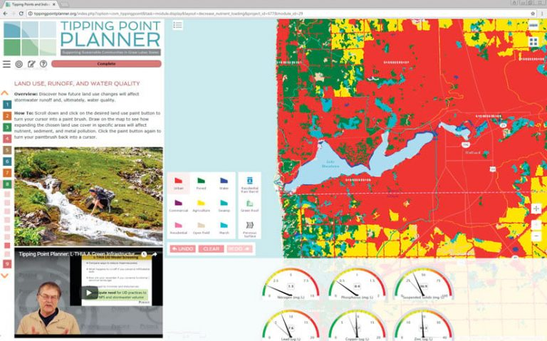 A screenshot of the Tipping Point Planner showing a map, a photo of a stream, and a video