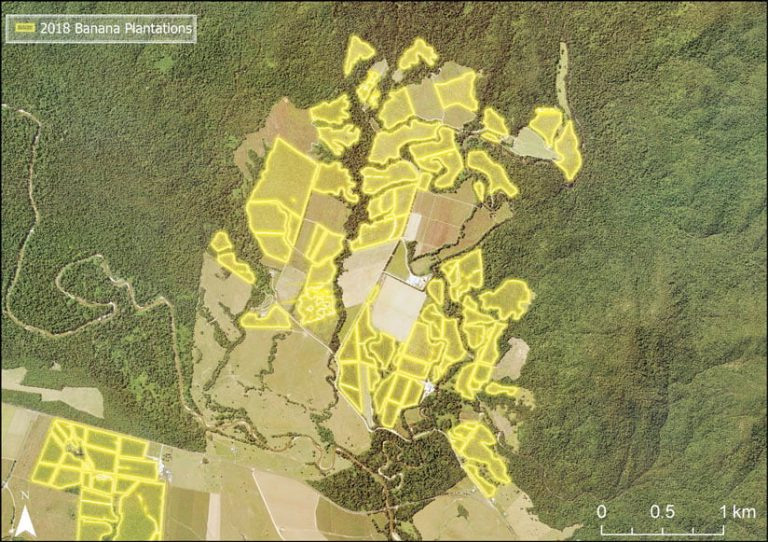 A map of banana plantations in the Johnstone River catchment
