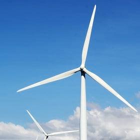 A wind turbine creates renewable energy