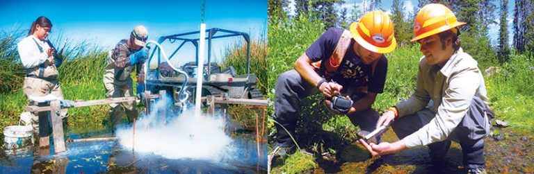 Two photos: one of BLM field staff using a piece of equipment in water and one of two BLM staff recording data about a rock