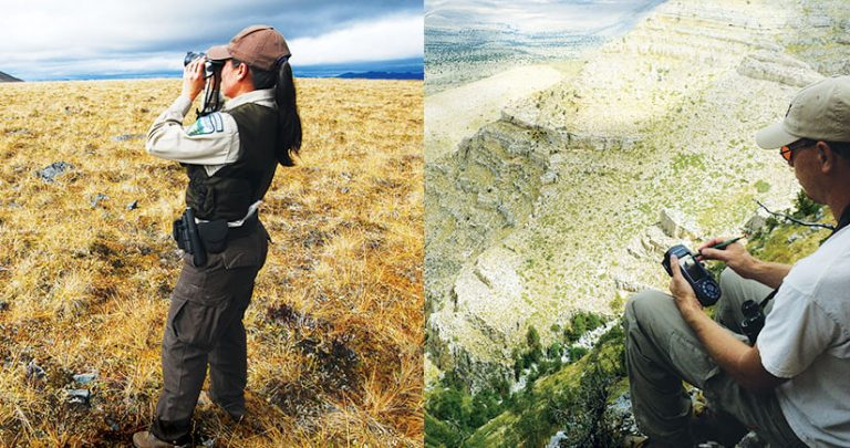 Two photos, one of a woman using binoculars in a field in Alaska and one of a man using a mobile device on a hill in New Mexico