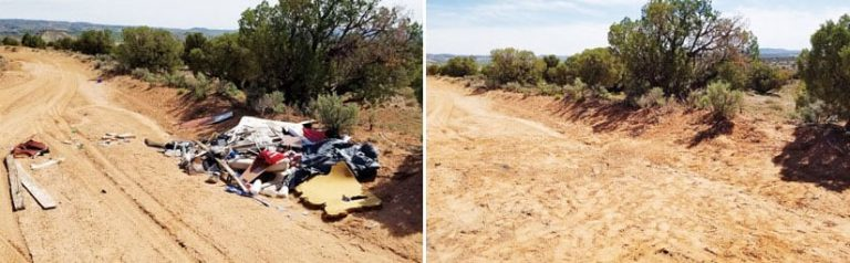 A photo of an illegal dumping site full of trash and a photo of it after the trash was removed