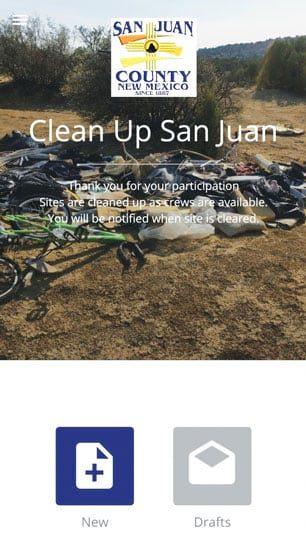 A screenshot of the Clean Up San Juan app user interface