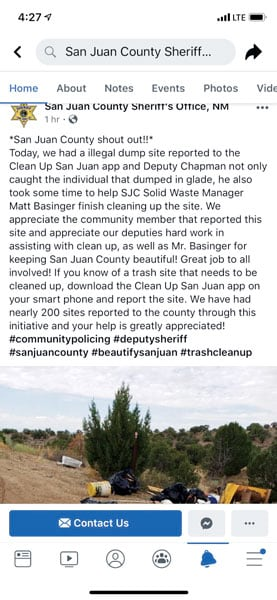 A screenshot of a Facebook post by the San Juan County Sheriff's Office about how the app helped successfully clean up an illegal dumping site