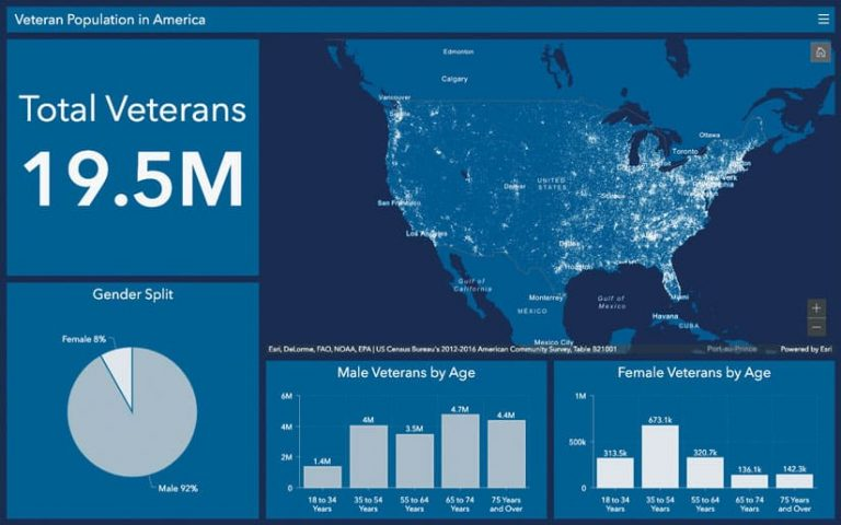 A screenshot of a dashboard with a dot density map showing 19.5 million veterans across the United States