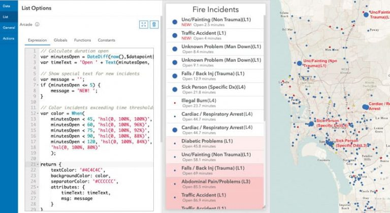 A dashboard showing fire incidents with ArcGIS Arcade code on the side
