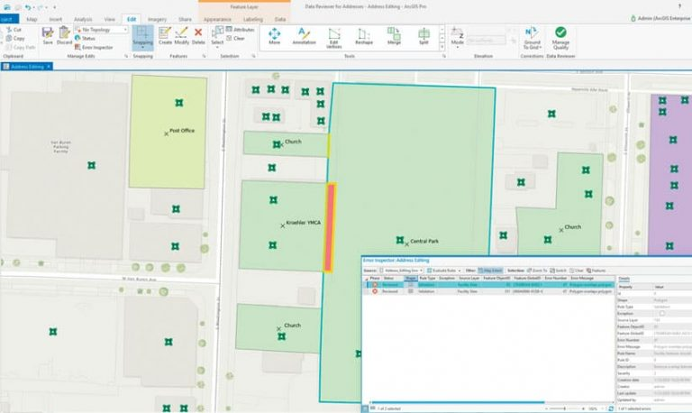 A screenshot of the ArcGIS Data Reviewer user interface