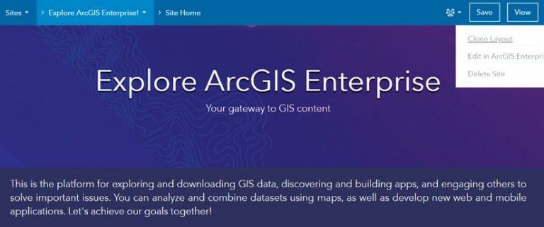 A screenshot of the ArcGIS Enterprise Sites user interface