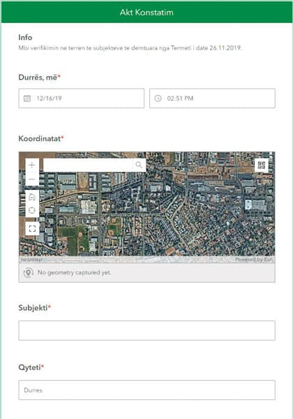 A screenshot of the Survey123 for ArcGIS app