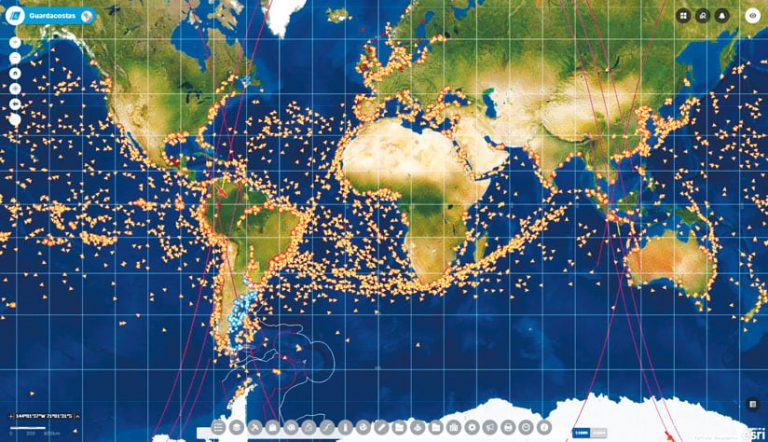 A map showing all the ships in the world that transmit their positions via the automatic identification system