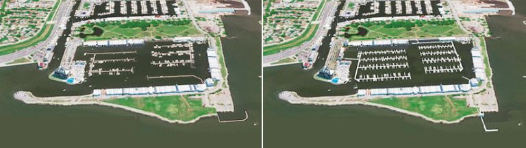 Two aerial images, one that shows what the damaged slips look like and one that shows what they will look like once the harbor is rebuilt