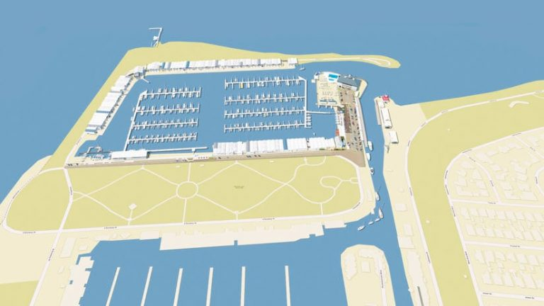 An aerial rendering of the rebuilt harbor overlaid on a basemap