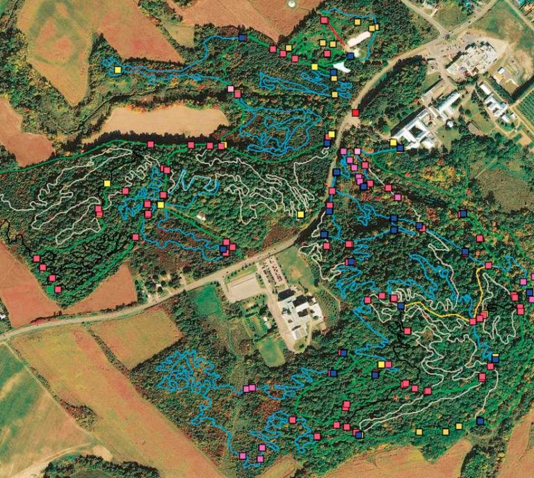A map on satellite imagery of a mountain bike trail