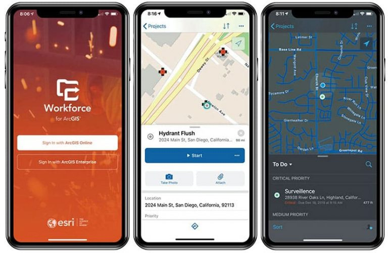 Three mobile devices showing different screenshots of the Workforce for ArcGIS mobile app