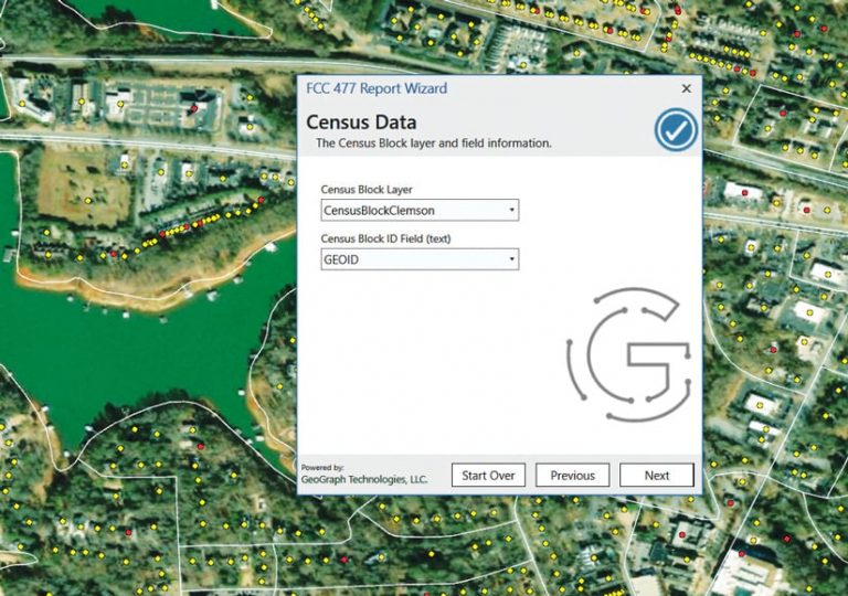 A satellite image with yellow dots on it indicated census blocks