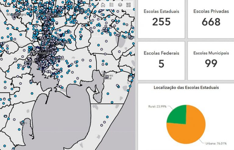 A screenshot of a dashboard that shows a map on the left and statistics about schools on the right