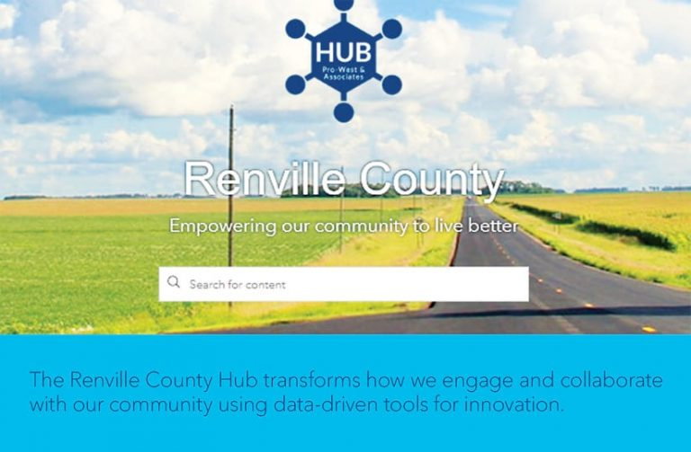 A screenshot of the Renville County hub