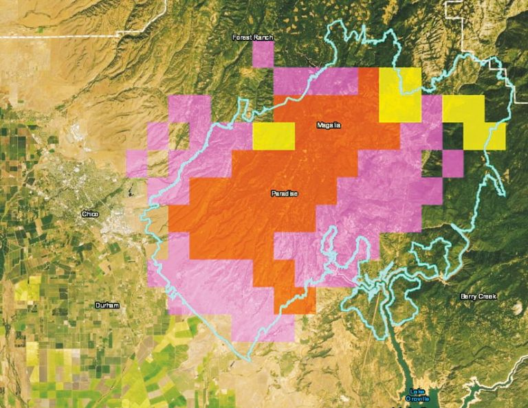 A satellite imagery-based map from DTN that has orange, pink, and yellow squares on it