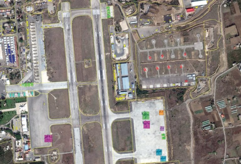 An aerial image of what looks like an airport