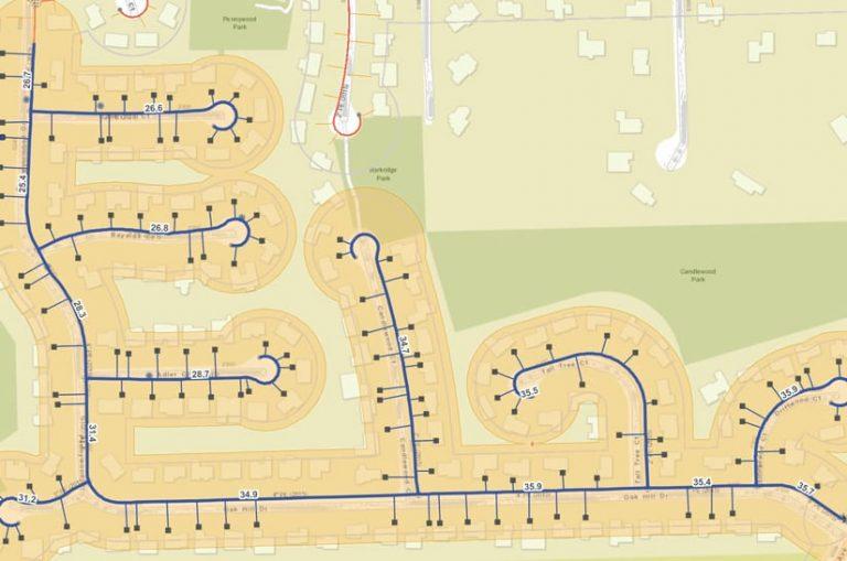 A map of a neighborhood's utility assets