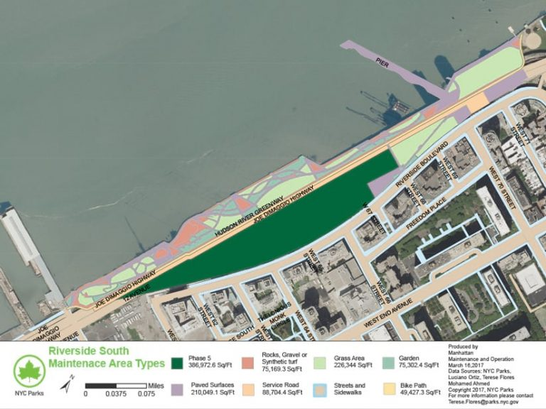 A satellite imagery-based map that shows a section of the Hudson River Greenway that extends over the water and has different types of park space