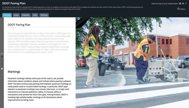 A screenshot of an ArcGIS StoryMaps app interface that shows, on the right, a photo of two people drawing lines on a city road and, on the left, and a summary of the DDOT Paving Plan