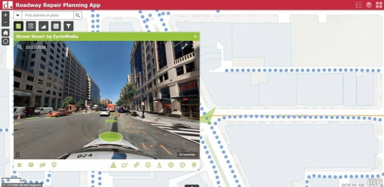 A screenshot of a map of streets that also shows street-level imagery from CycloMedia