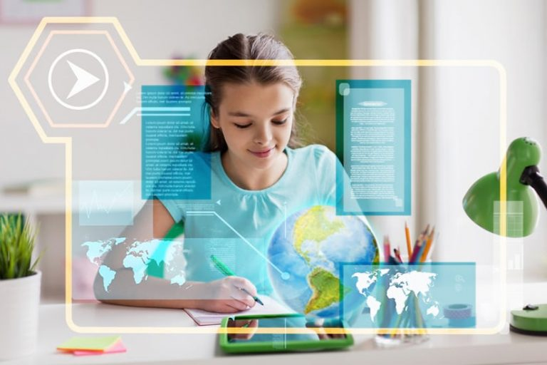 An image of a young girl working with a notebook and a mobile device while maps, a globe, and text float in front of her, insinuating lots of information
