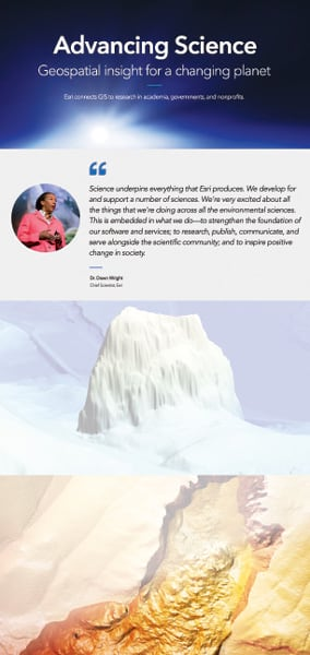 "A screenshot of part of Esri's new science portfolio. Text on the screenshot says, ""Advancing Science: Geospatial insight for a changing planet."" There is a quote from Dawn Wright on the page and some 3D images of mountain-like structures."