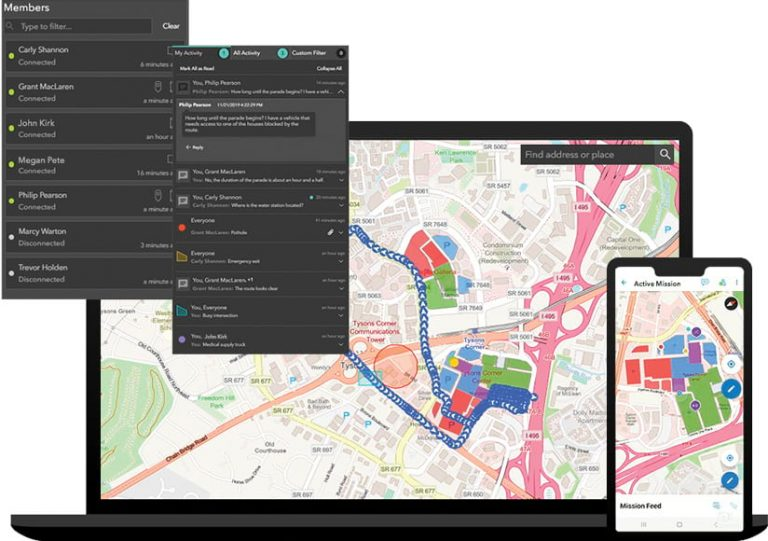 A compilation of four screenshots: two of a mobile device screen that shows team members and one person's activity, a laptop screen that shows a map of someone's location tracks, and a smartphone screen that shows a map