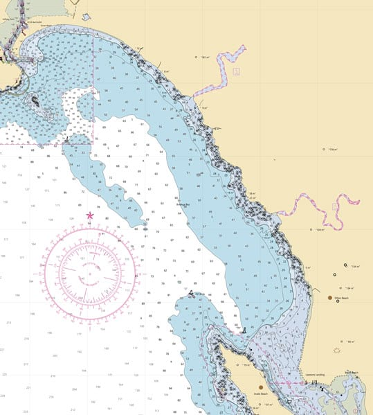 A standard-looking white, tan, and blue chart that shows the coastline around Tomales Bay, California