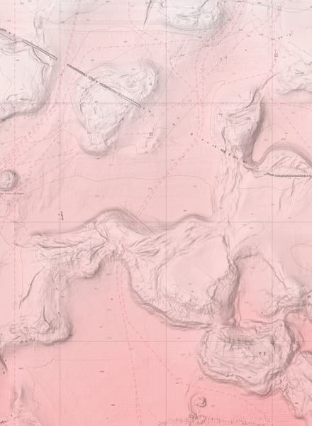 A pink chart that shows bathymetry data in the Gulf of Mexico