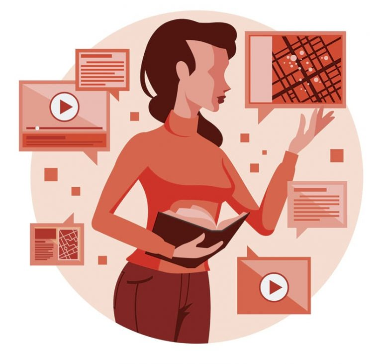 An illustration of a woman holding a book, surrounded by screenshots of maps, videos, and stories made with ArcGIS StoryMaps