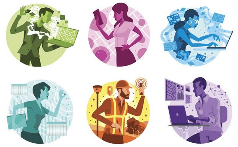 Six illustrations of each user type, showing a person in the middle surrounded by representations of the GIS-based ideas, software, and apps they can use