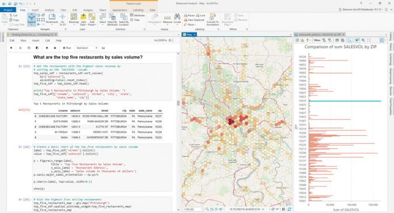 "A screenshot of an in-progress project showing code on the left under the question, ""What are the top five restaurants by sales volume?"" and a map on the right"