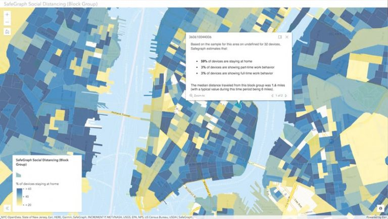 A map of lower Manhattan, part of New Jersey, and parts of Brooklyn and Queens that shows, in blue, areas with high percentages of mobile devices that stayed at home versus, in yellow, low percentages of mobile devices that stayed at home