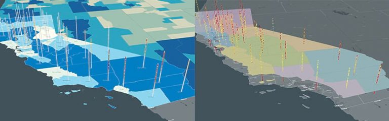 Two maps of California with 3D bars that show, on the left, the social vulnerability levels and COVID19 cases in each county and, on the right, each county's social distancing grade
