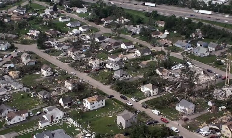 An aerial photograph of houses that were destroyed by tornadoes